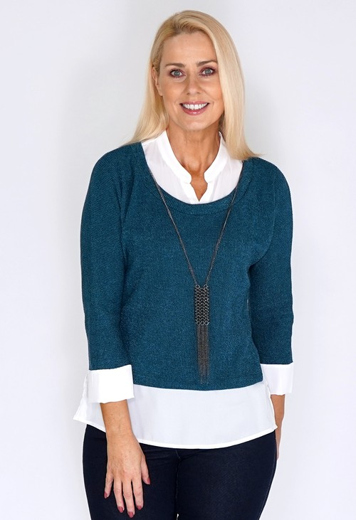 Sophie B Petrol Knit Pullover with Shirt Details and Necklace