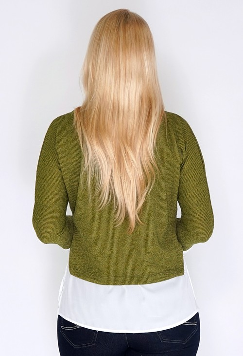 Sophie B Green Knit Pullover with Shirt Details and Necklace