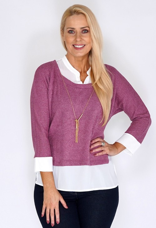 Sophie B Pink Knit Pullover with Shirt Details and Necklace