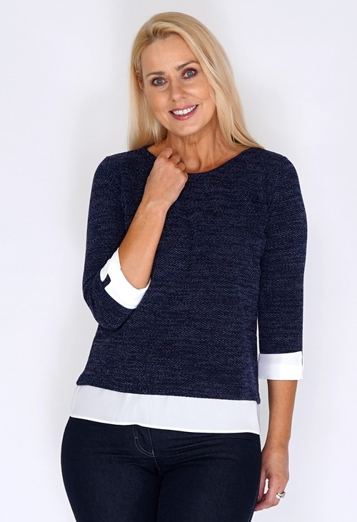 Twist Navy Knit Jumper with Shirt Detail