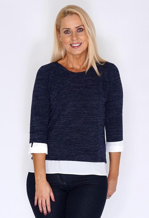Twist Navy Knit Jumper with Shirt Detail