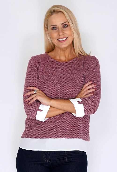 Twist Rose Knit Jumper with Shirt Detail