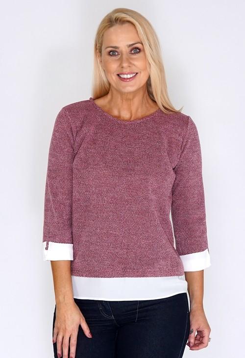 Twist Rose Knit Jumper with Shirt Detail