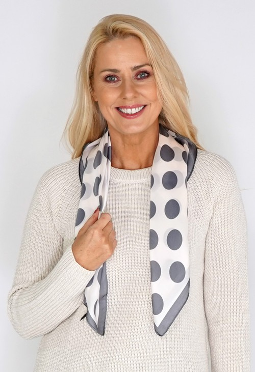 Pamela Scott Grey Silk Spot Square Scarf