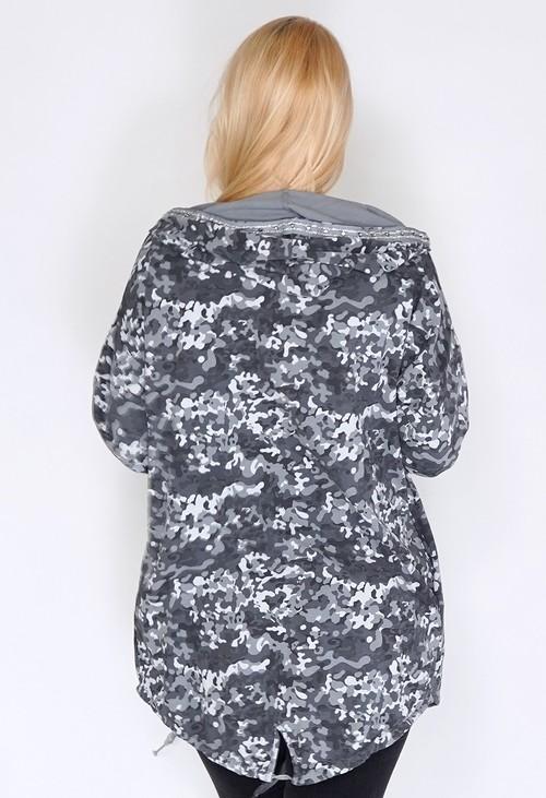 Pamela Scott Grey Midi Length Camouflage Coat with Diamante Details