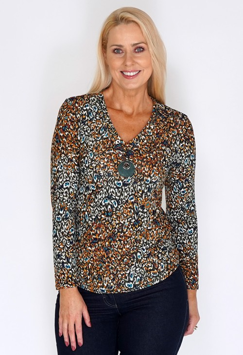Sophie B Peacock Print Top