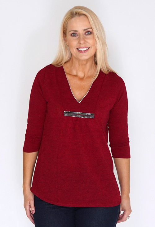 Sophie B Red Tunic Style Knit with Diamante Details