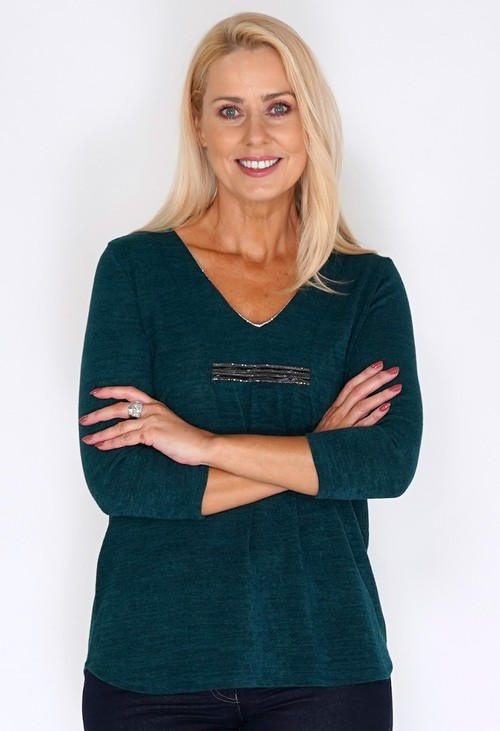 Sophie B Green Tunic Style Knit with Diamante Details