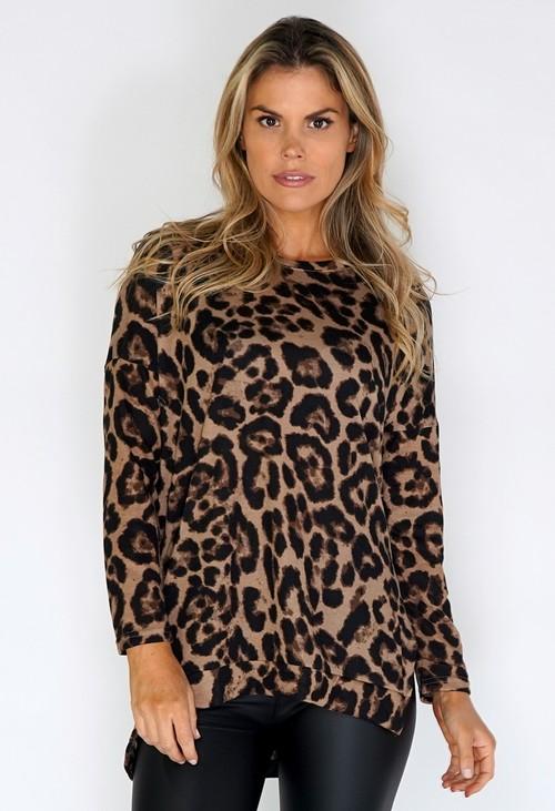 Pamela Scott Beige Leopard Print Long Top