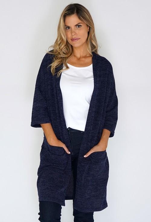 Twist Navy Open Knit Cardigan