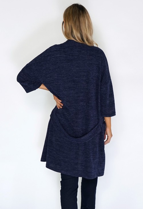 Twist Navy Open Knit Cardigan