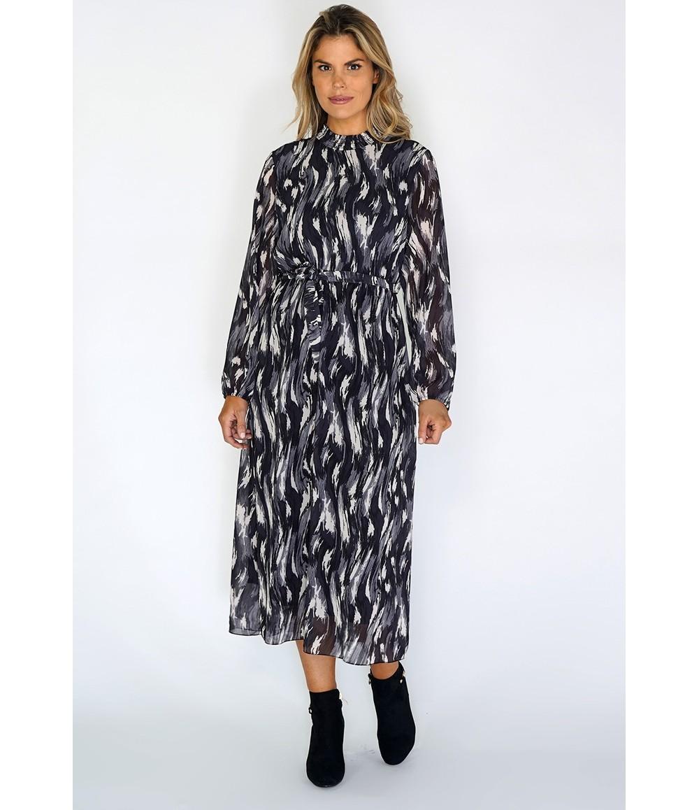 Zapara Grey Flowing Midi Dress