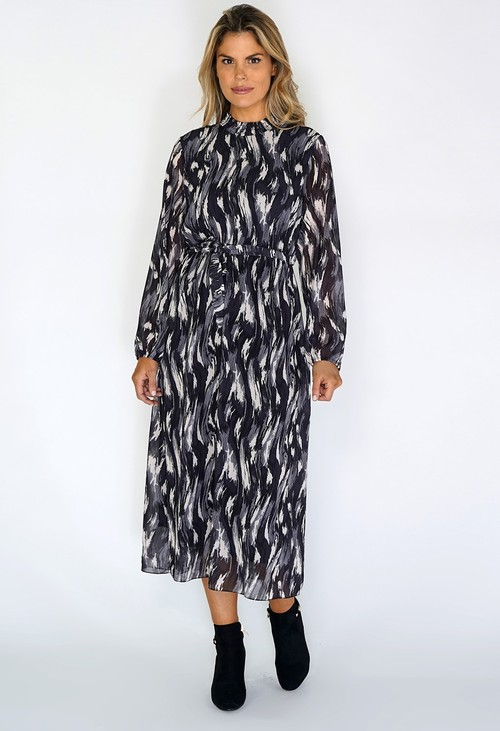 Zapara Grey Flowing Midi Dress