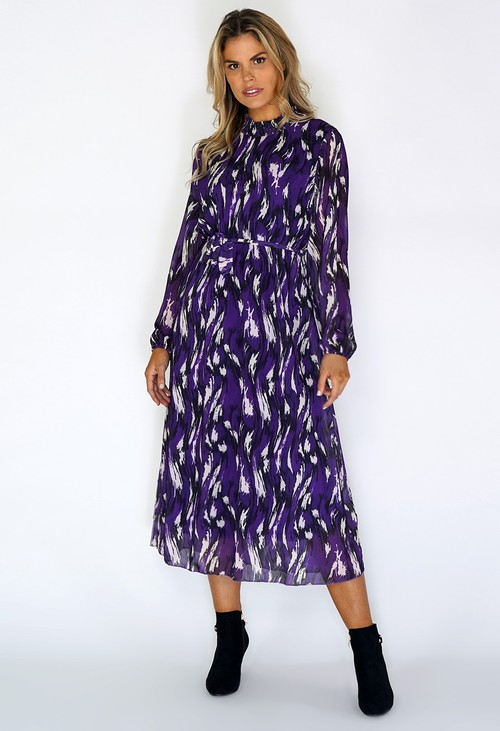 Zapara Purple Flowing Midi Dress