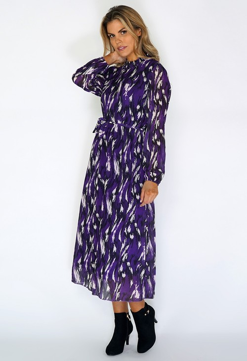 Zapara Purple Flowing Midi Dress