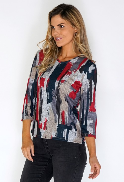 Twist Grey Knit Top with Paint Stroke Print