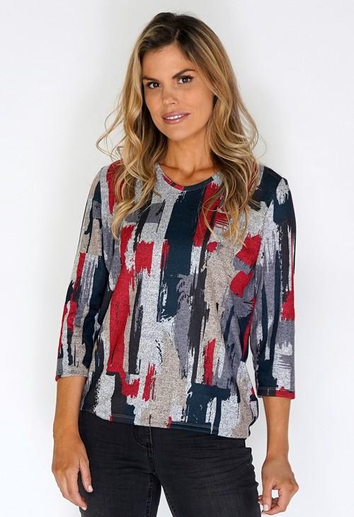 Twist Grey Knit Top with Paint Stroke Print
