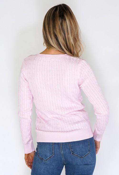 Twist Rose Knit Jumper with Blue Stitch Details