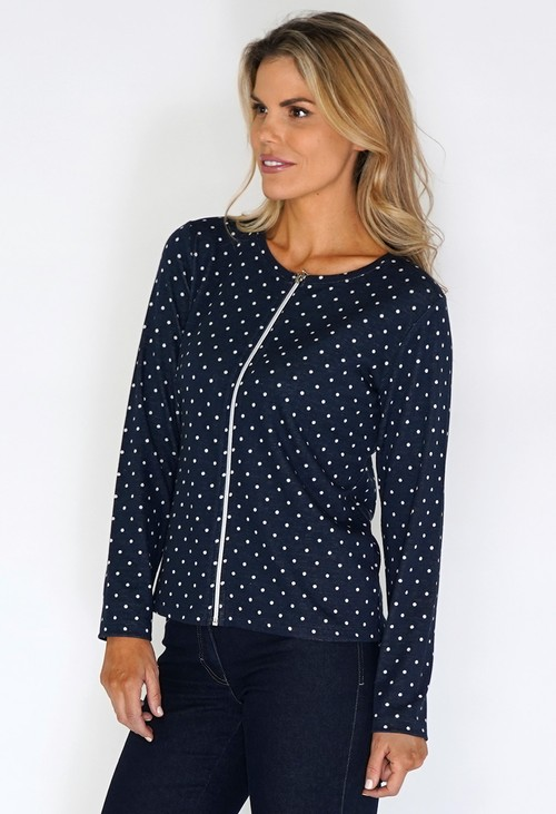 Twist Navy Polka Dot Zip Up Top