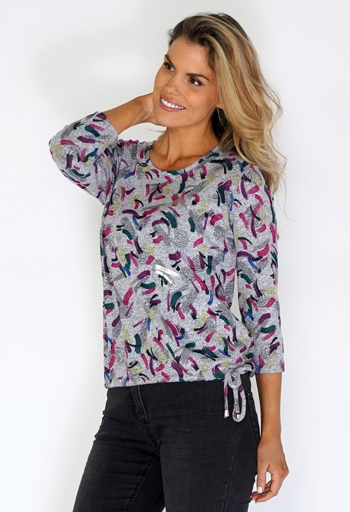 Sophie B Grey Knit Top with Coloured and Silver Print