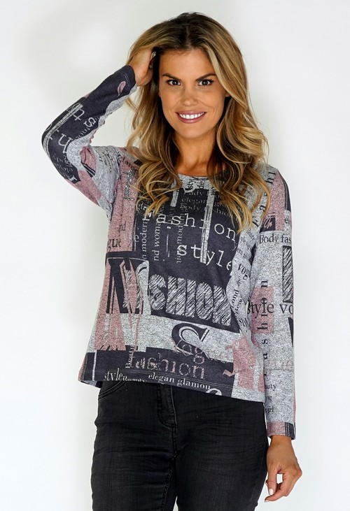 Twist Grey Knit Top with Letter Print