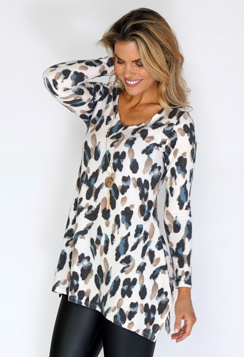 Sophie B Cream Soft Knit Tunic with Blue Leopard Print