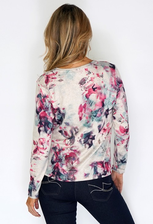 Twist Beige Knit Top with Watercolour Print