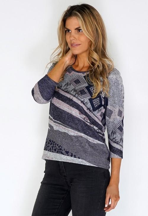 Twist Grey Knit Top with Soft Geometric Print