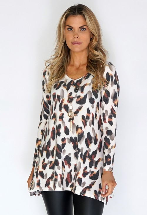 Sophie B Cream Soft Knit Dress with Burnt Orange Leopard Print
