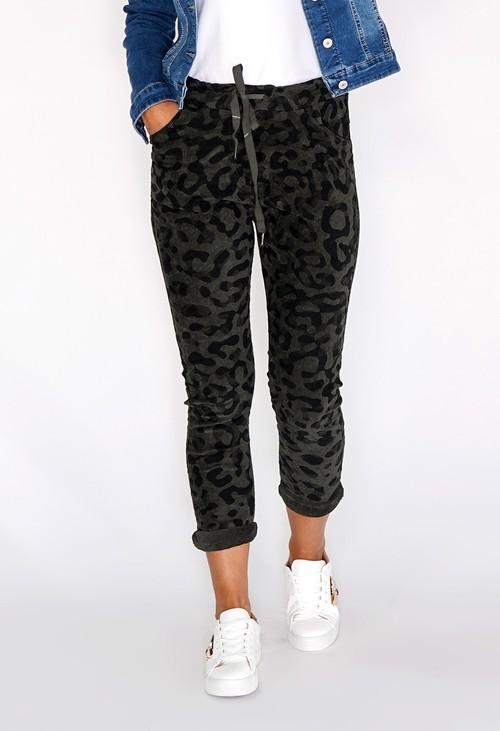 Pamela Scott Khaki Worn Leopard Joggers