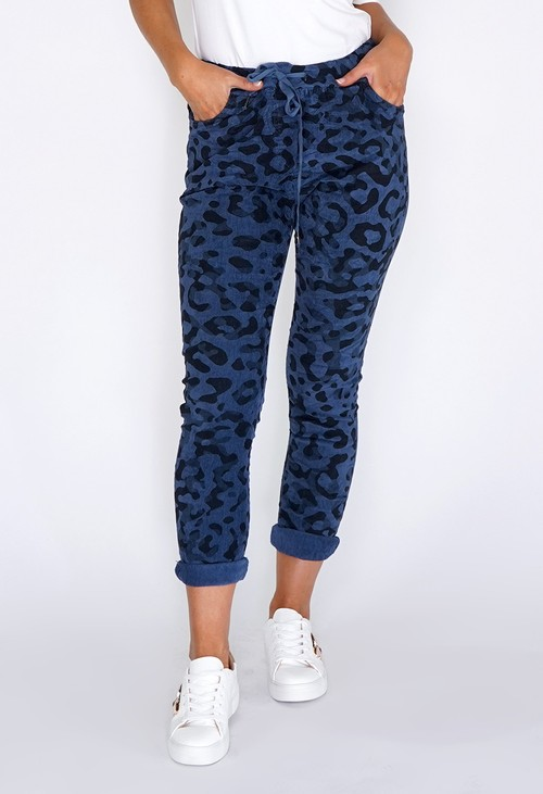 Pamela Scott Dark Blue Worn Leopard Joggers