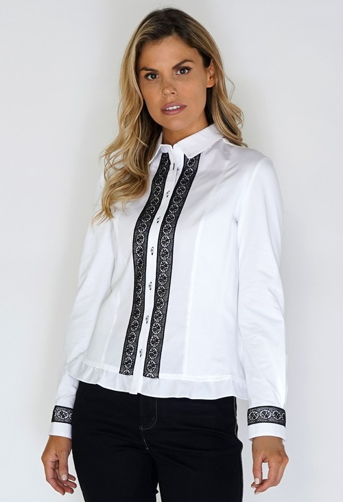 Tinta Style White Shirt with Black Lace Front