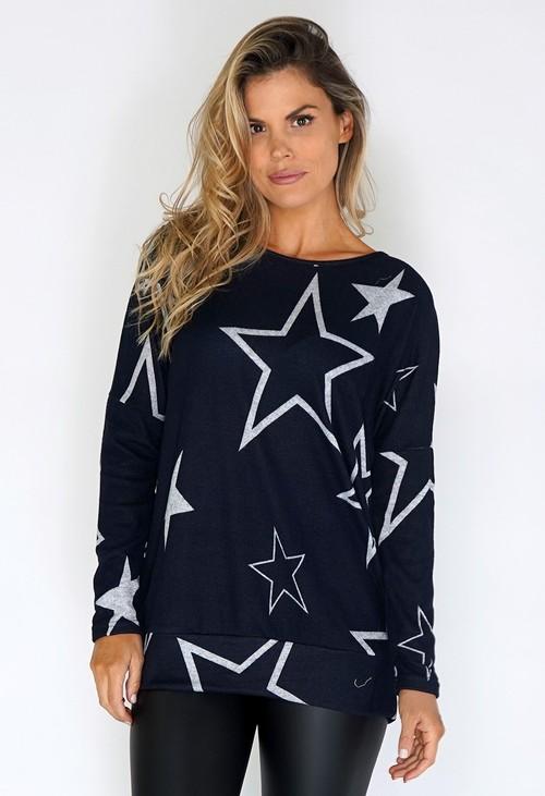 Pamela Scott Navy Star Print Jumper