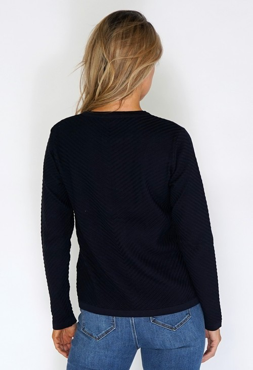 Twist Navy Zip Up Knit Cardigan