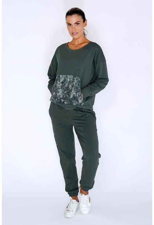 Zapara Khaki Jumper with Large Camouflage Front Pocket