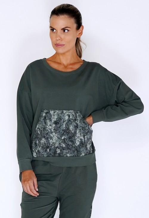 Zapara Khaki Jumper with Large Camouflage Front Pocket