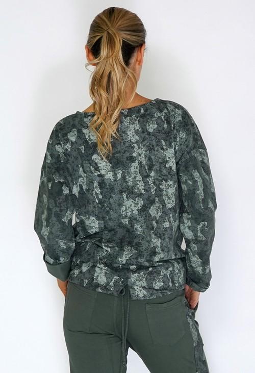 Zapara Khaki Dropped Shoulder Camouflage Knit Top