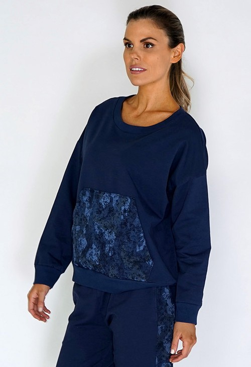 Zapara Navy Jumper with Large Camouflage Pocket