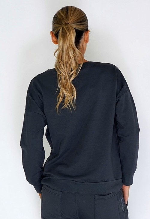 Zapara Grey Jumper with Large Camouflage Front Pocket