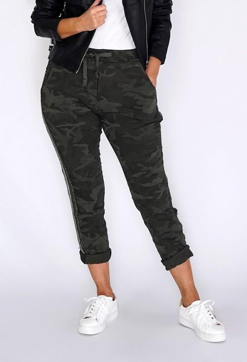 Pamela Scott Khaki Camouflage Joggers with Silver Glitter Stripes