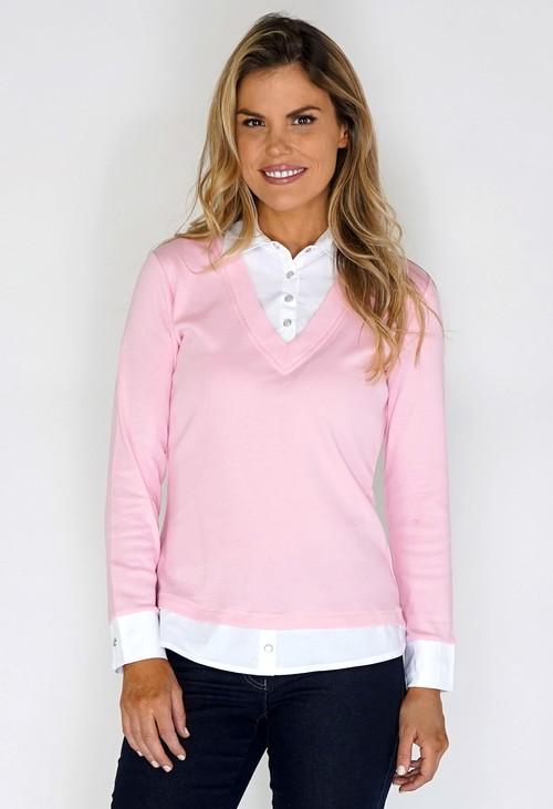 Twist Pink Shirt Detailed Top