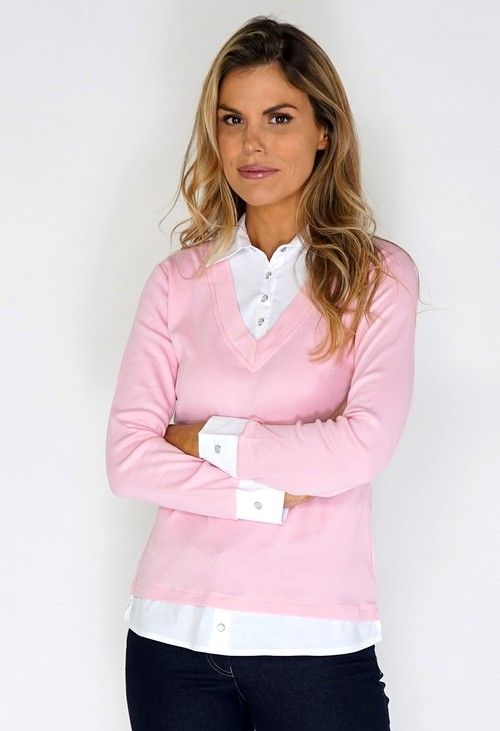 Twist Pink Shirt Detailed Top