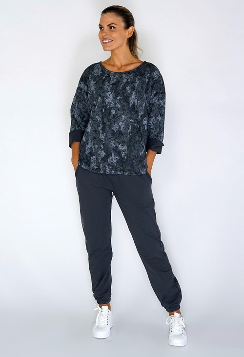 Zapara Grey Dropped Shoulder Camouflage Knit Top