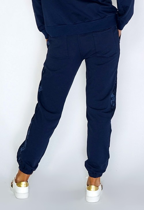 Zapara Navy Joggers with Camouflage Side Detail