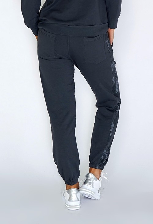 Zapara Grey Joggers with Camouflage Side Detail