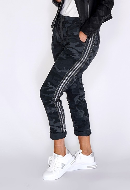 Pamela Scott Grey Camouflage Joggers with Silver Glitter Stripes