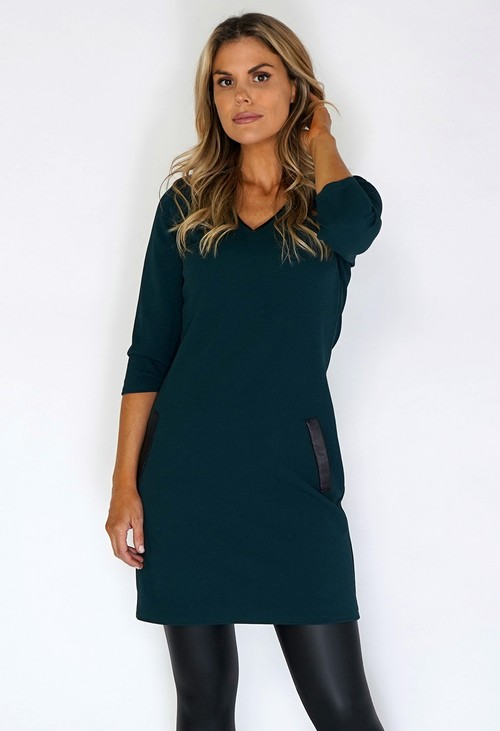 Zapara Green Dress with Faux Leather Details