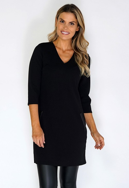 Zapara Black Dress with Faux Leather Details