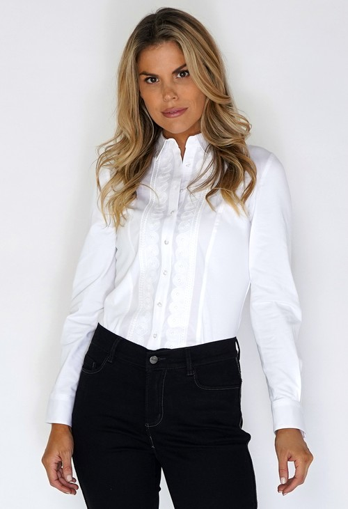 Tinta Style White Shirt with Lace front