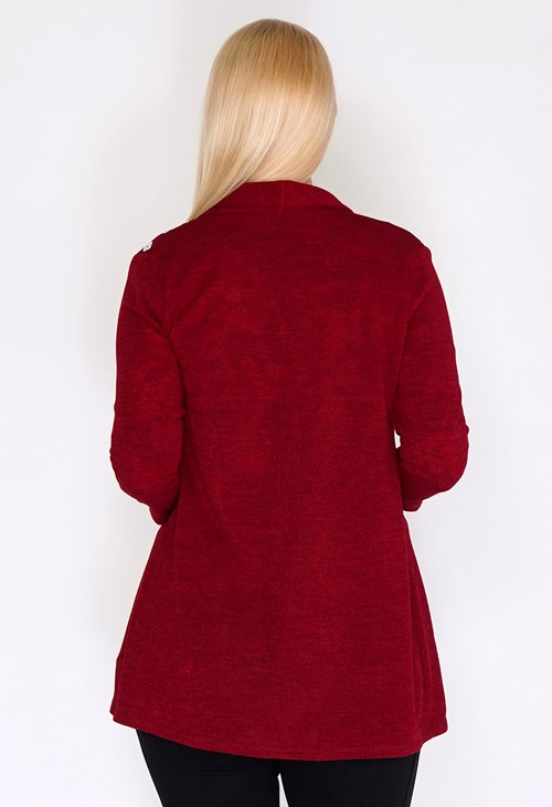 Sophie B Red Knit Open Cardigan with Button Shoulder